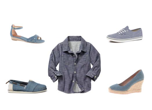 shirt: gap.   sneakers: vans.   wedge: jcrew.   slip-ons:toms .  sandal: jcrew.