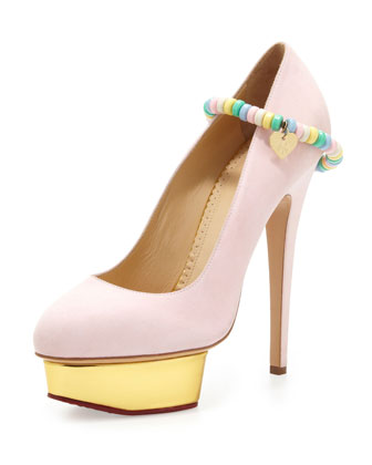 charlotte olympia. sweet dolly pump with candy anklet.