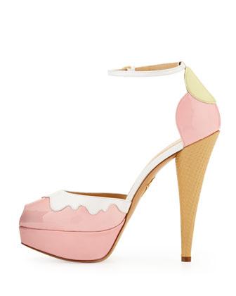 charlotte olympia. ice cream cone-heel d'orsay pump.