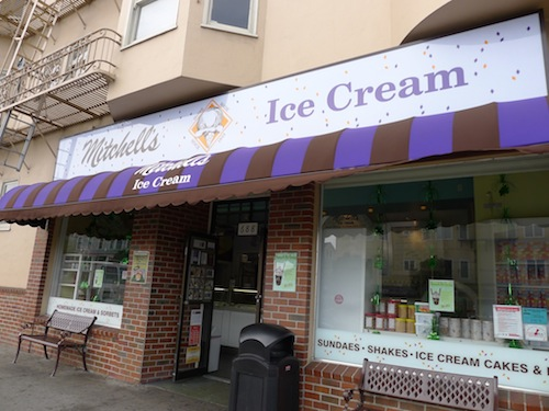 mitchell's ice cream. san jose avenue at 29th street.  jesse and i always go to mitchell's and get the same order. we served mitchell's grasshopper (mint cookies, not real grasshoppers and peanut butter indulgence) at our wedding.