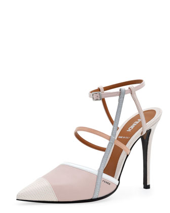 point-toe colorblock sandal.
