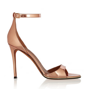 mirrored leather sandals in rose gold.