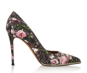 leather floral print pumps.