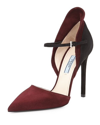 bi-color suede d'orsay pump.