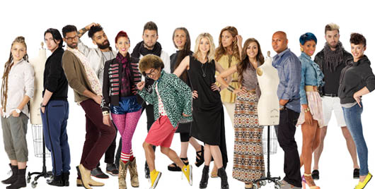 Project Runway. Season 10 Cast. Melissa Fleiss, center in black dress.