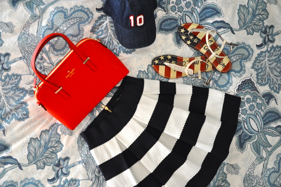 this is what i have packed so far:  kate spade purse  //  j.crew hat  //  sam edelman sandals  //  ambiance skirt