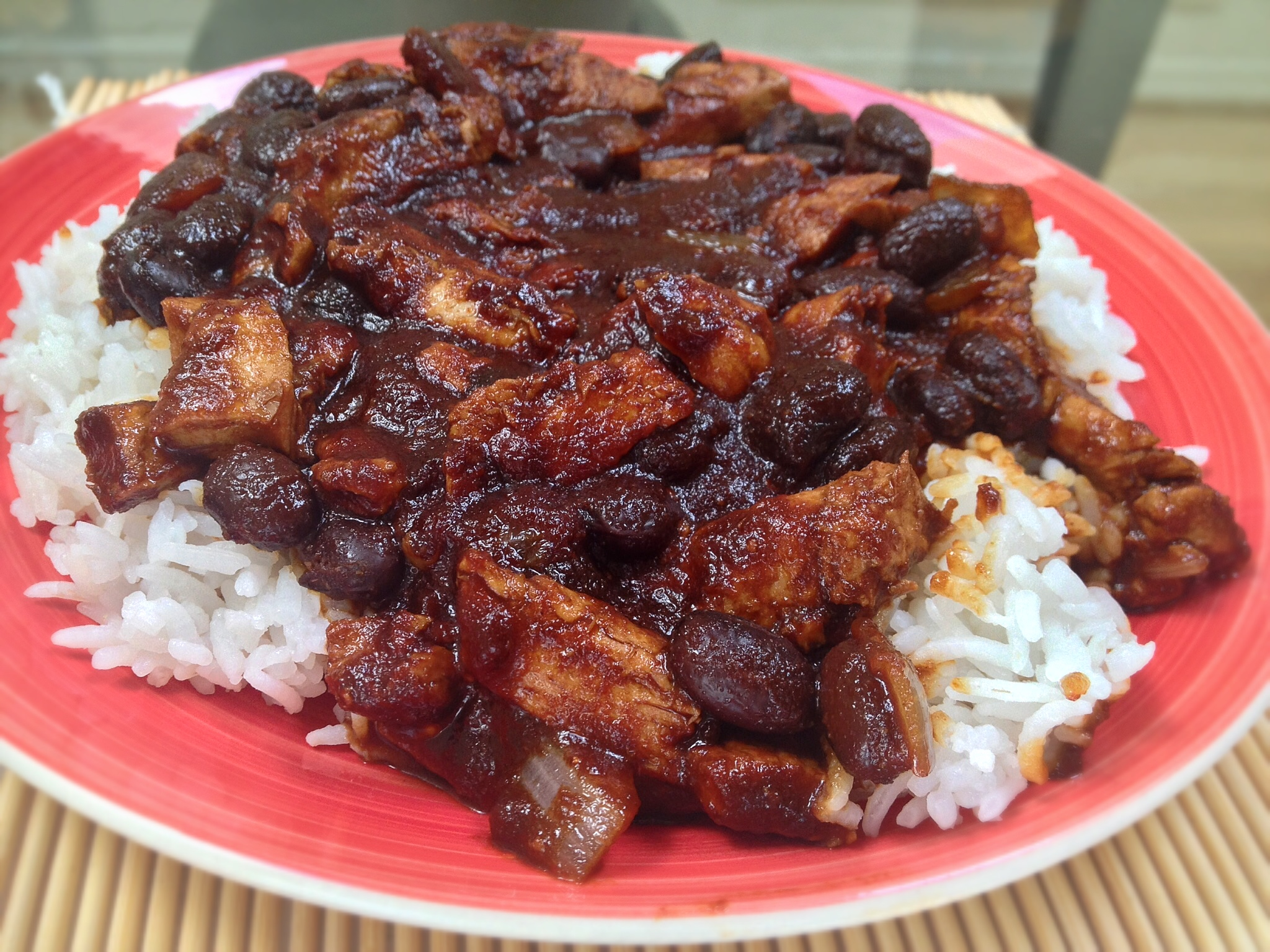 BBQ Black Beans with Chick'n Over Rice