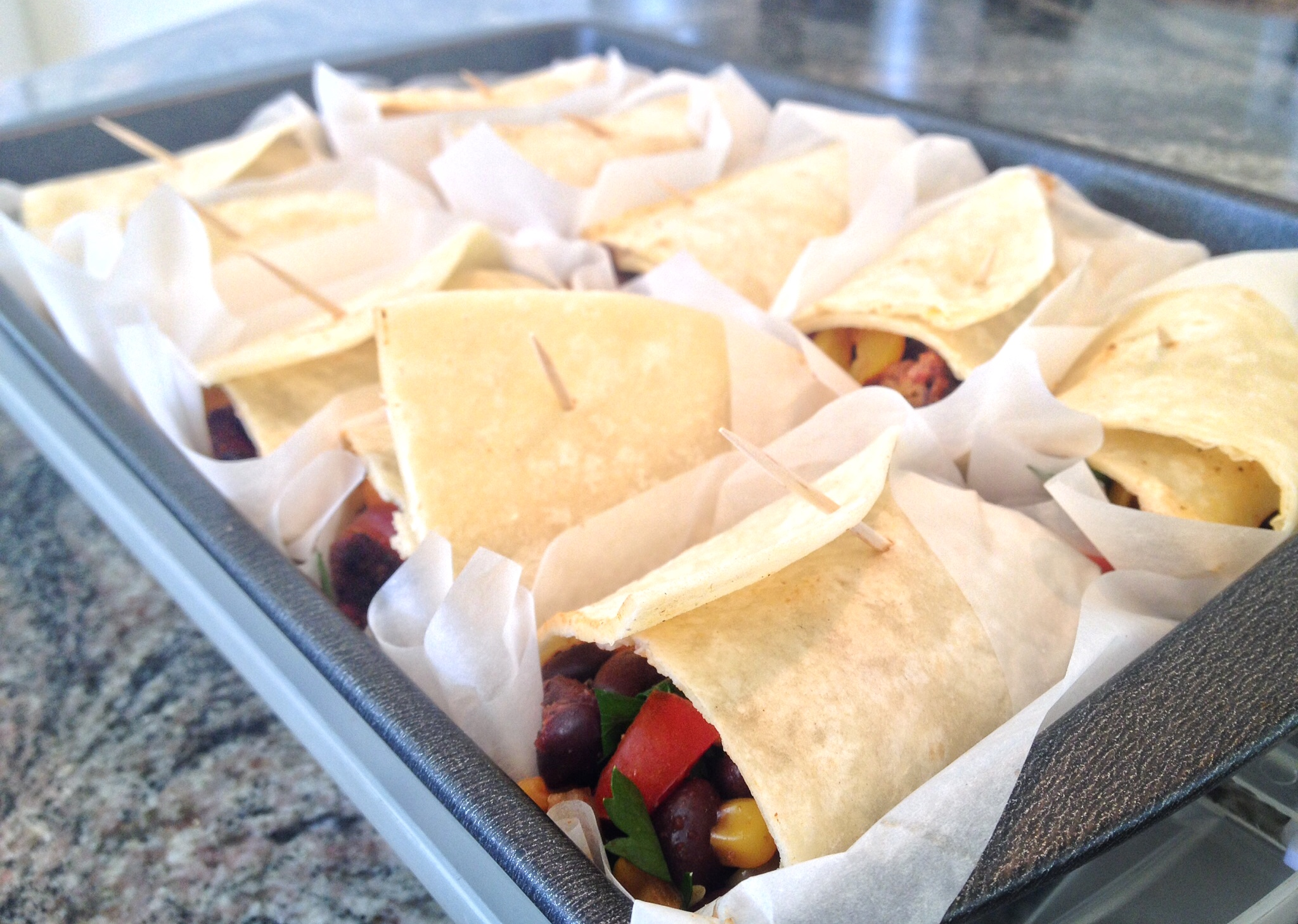 Fajitas wrapped and ready to eat! 40 minutes and fresh vegan food for my entire family for the day is done!