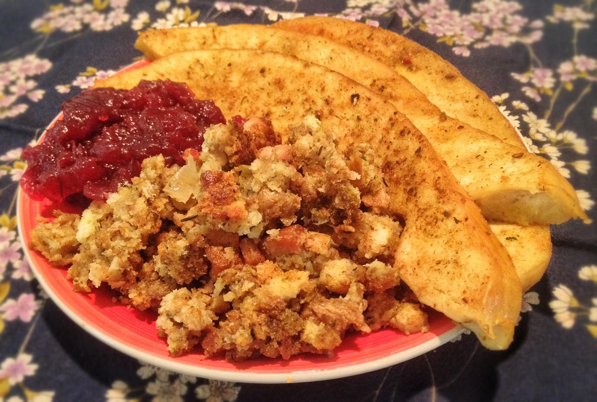 Vegan Turkey by Vegetarian Plus/VegeUSA®, stuffing and cranberry sauce