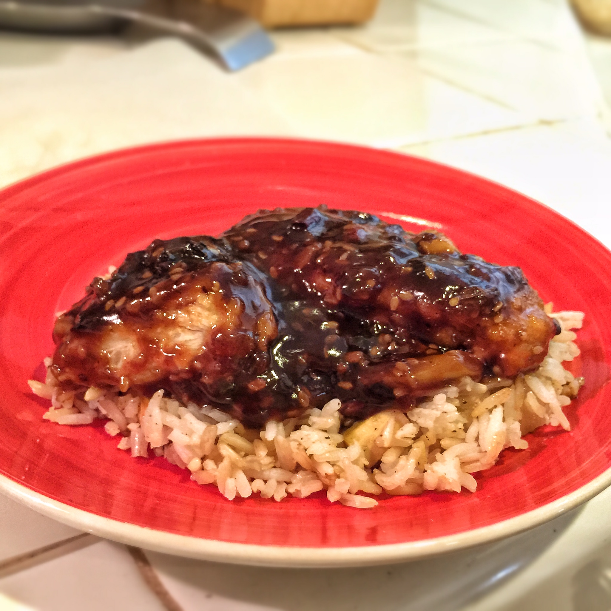 Fishless Filets with Black Bean Sauce over rice