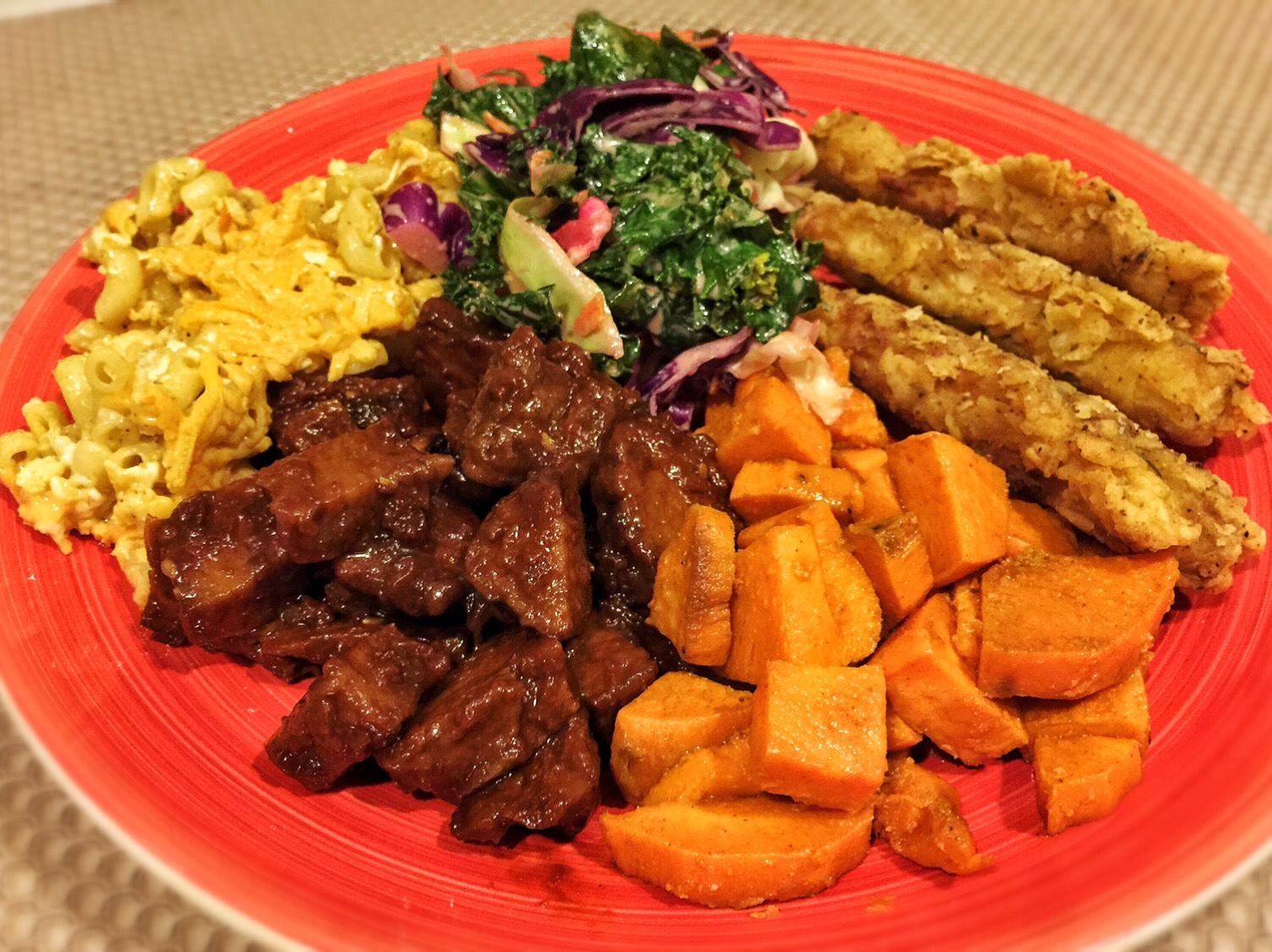 BBQ Seitan, Yams, Fried Chick'n, Kale Slaw and Mac & Cheese