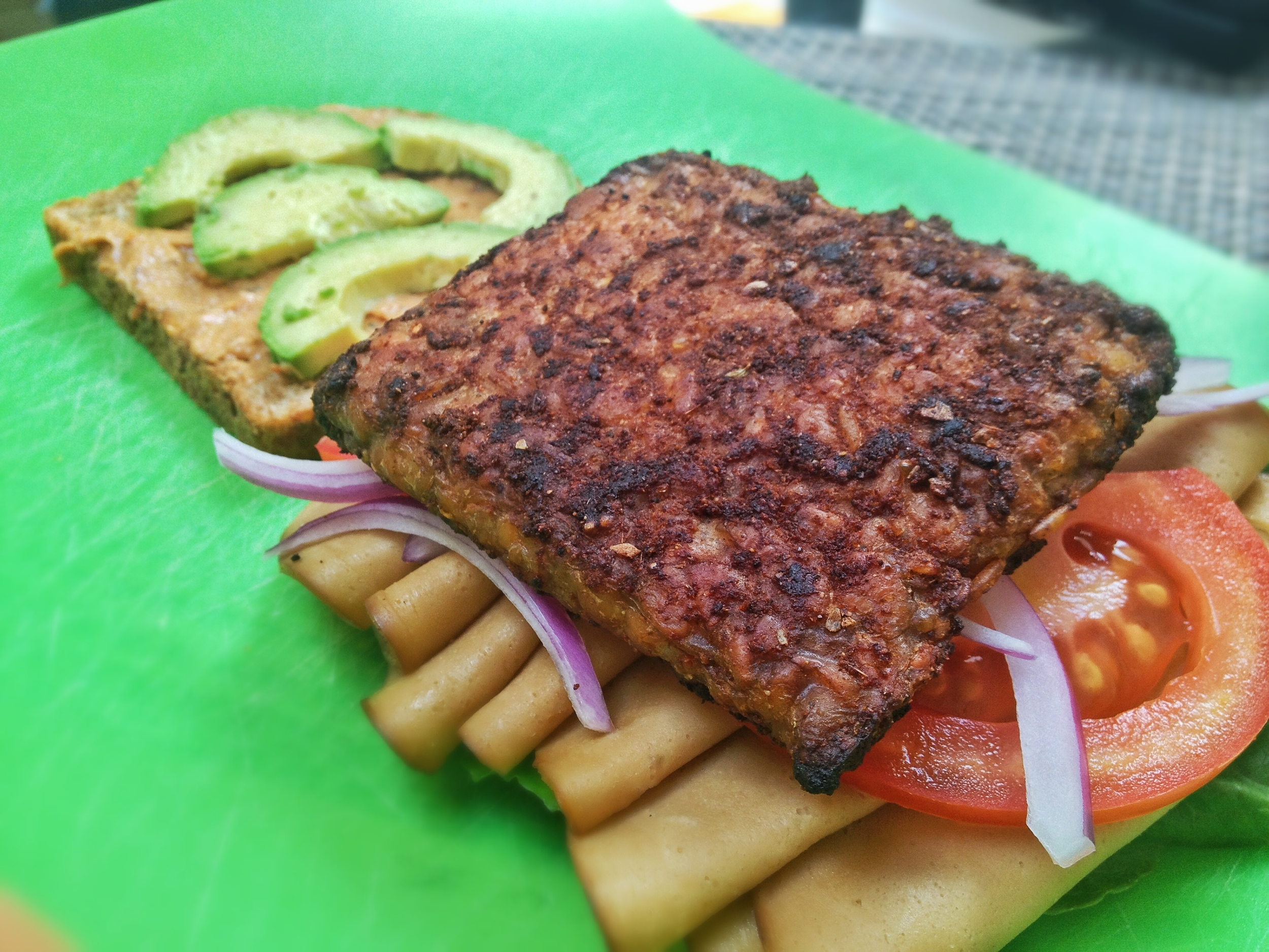 Tofurky Club Sandwich with Blackened Tempeh