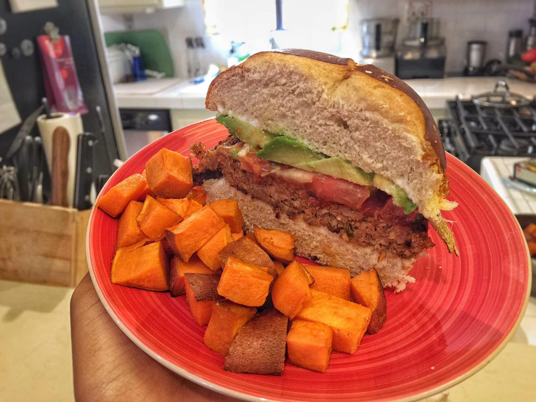 Amy's Kitchen Quarter Pound Veggie Burger with Baked Yams