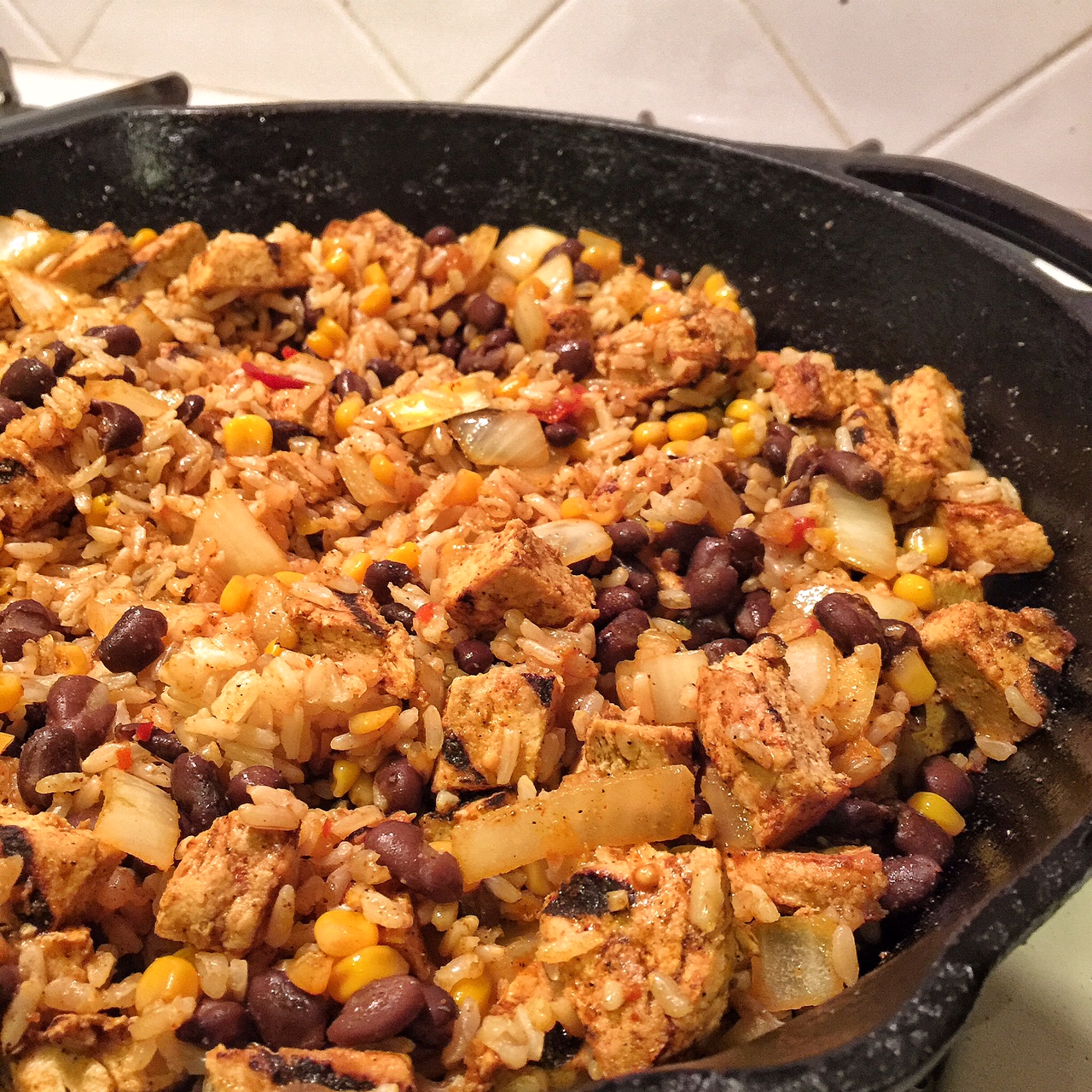 Mexican Fried Rice with Black Beans and Chick'n