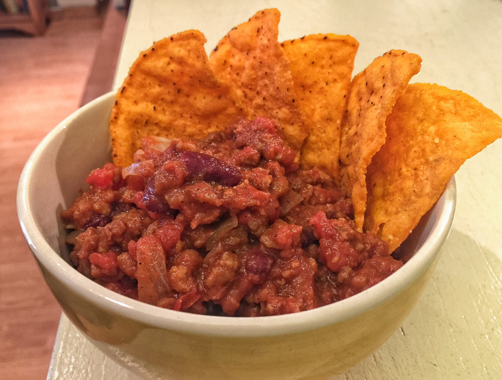 CHili with Veggie Crumbles