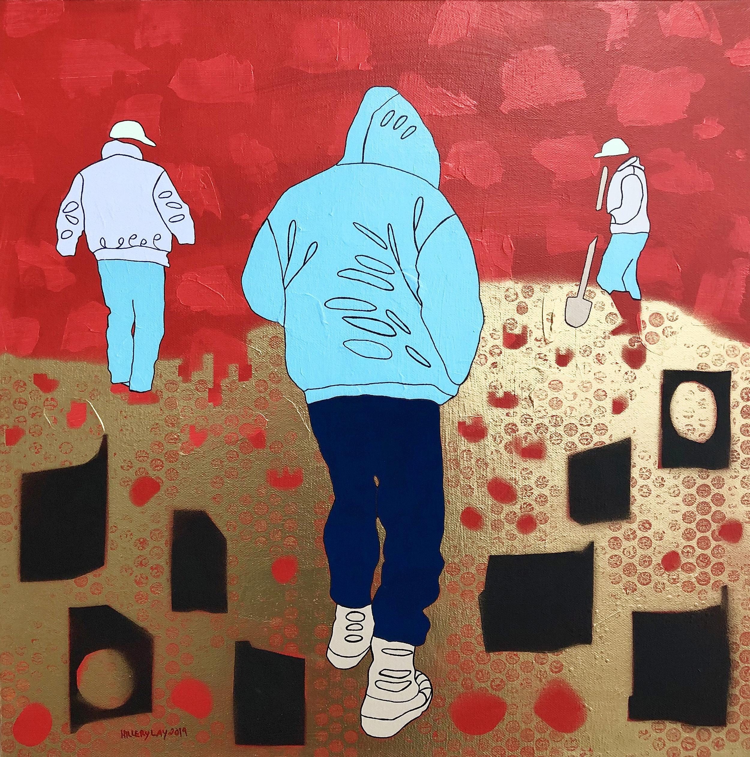 Center 2019, 20 x 20 inches, acrylic, gouache, spray paint, marker on canvas