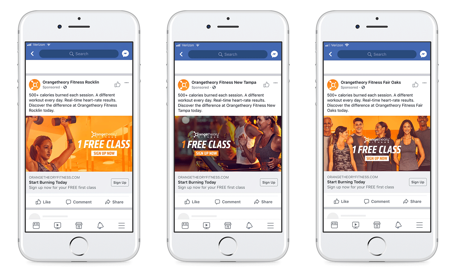 Facebook lead generation campaign, static ads