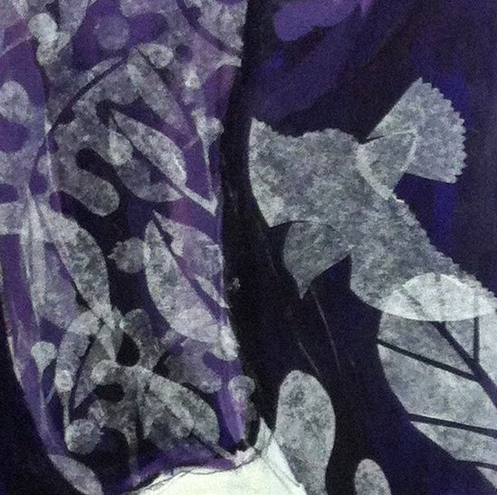 detail: Tapir piece in process - showing tissue paper cut outs on the body of the animal