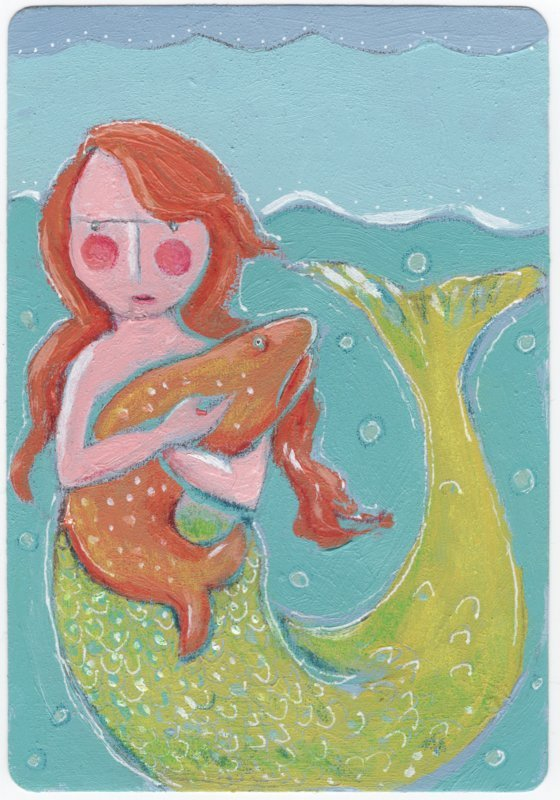 Mermaid ACEO for sale in my Etsy shop:https://www.etsy.com/listing/193682491/over-sized-aceo-mermaid-original-art-on