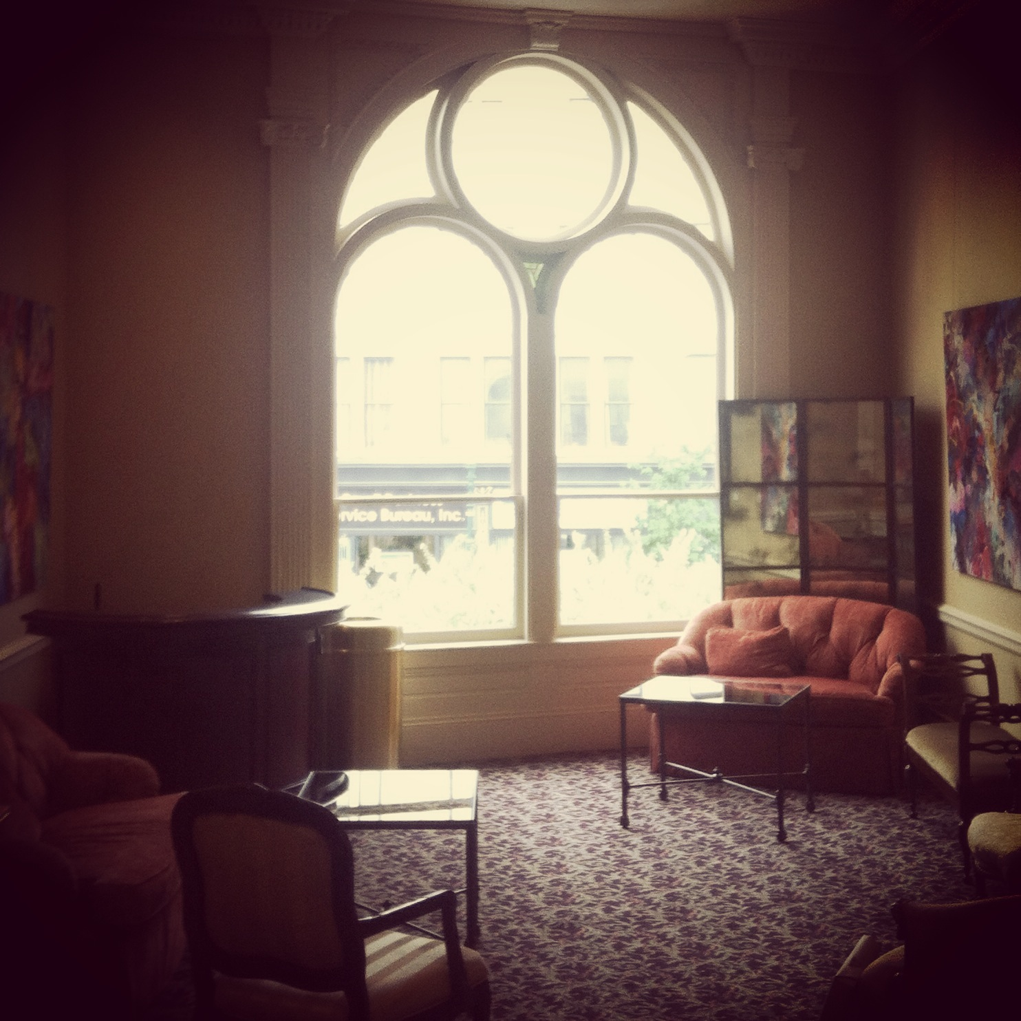 The space where my Beasts series will hang come October: the Vip room in the Hanover Theatre, Worcester, MA USA