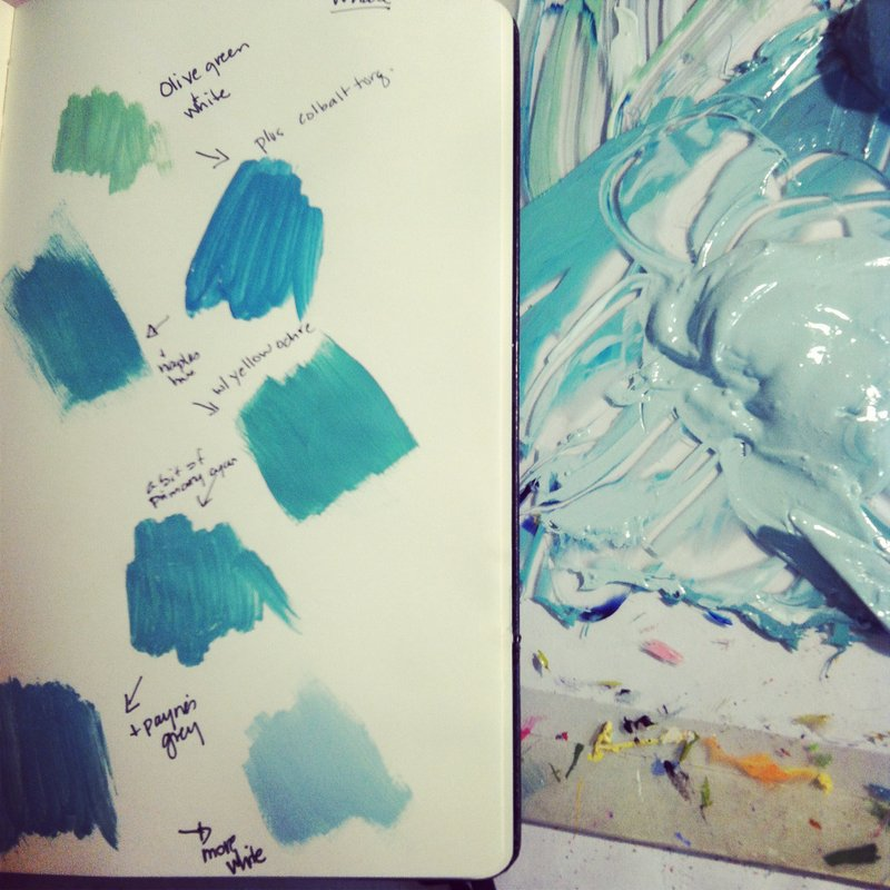 The progression of mixing just the right color for the whale's body. I'm going for a sea glass and sea weed palette!