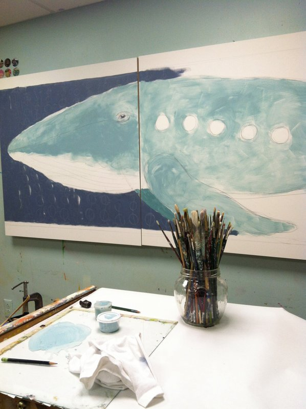 "the first under layers for the whale piece. It is a diptych on two 36"" square panels"