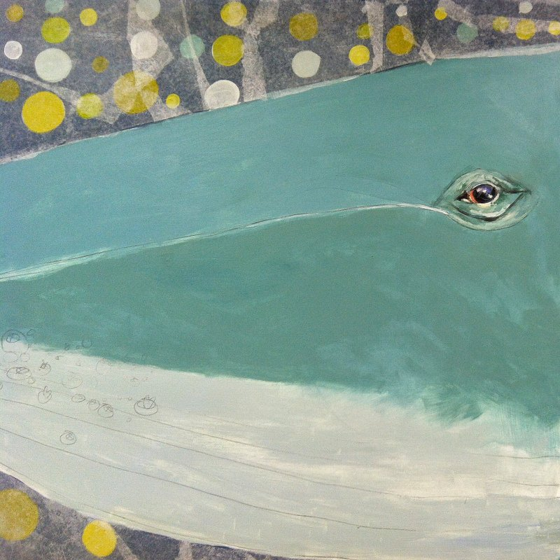 detail of in process Humpback Whale piece - their eyes are so human!