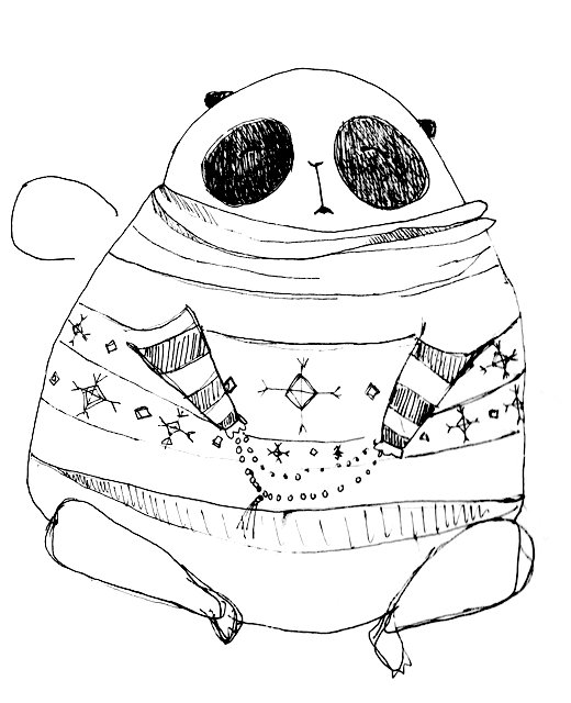 sketch from my sketch book - meditating panda .