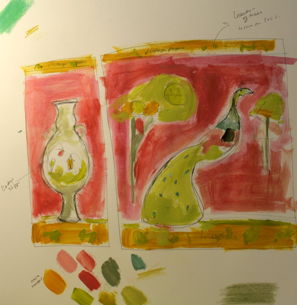 general color layout for the Green Pea Hen diptych