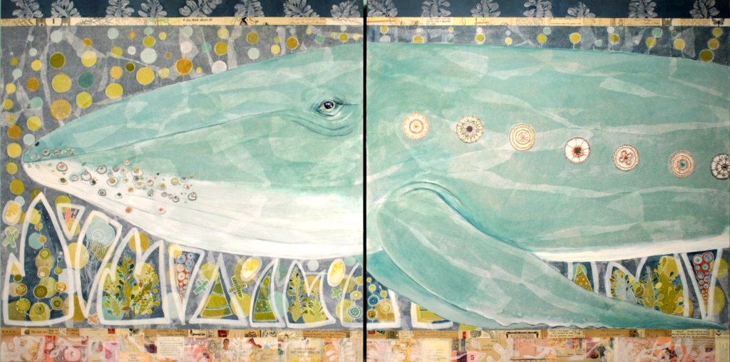 """""""Antongil Bay"""" - Humpback Whale . 36"""" x 72"""" x 2"""" (overall dimension for diptych)"""