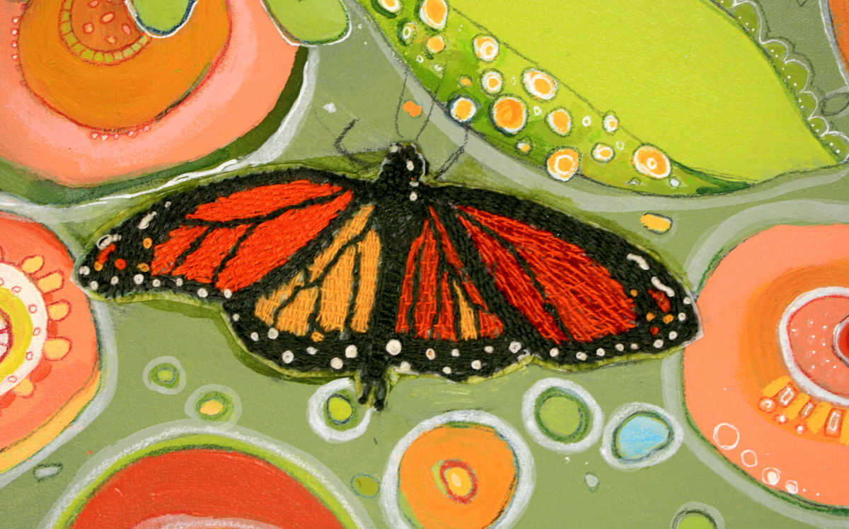 detail: monarch  Embroidery on tissue paper
