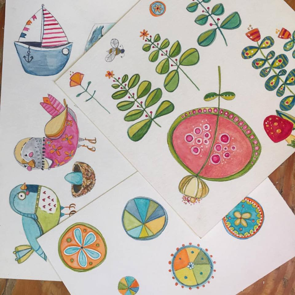 """worked on some illustration icons or """"bling"""" that will be used to add interest and fun to the illustrations in the Gracie Brave book. I did these in gouache, colored pencil and experimented with adding pastel pencil on top of the gouache which I liked the result of."""