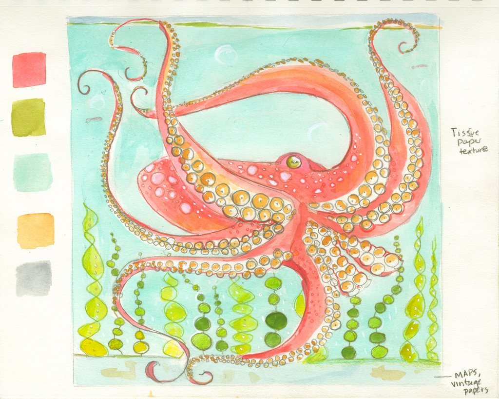 """Working sketch for an exciting new commission! A large octopus to add to my menagerie! I can't wait to sink my teeth into this large (36"""" square) piece ! It will be a nice balance with the smaller gouache and Photoshop illustration project I am also doing right now."""
