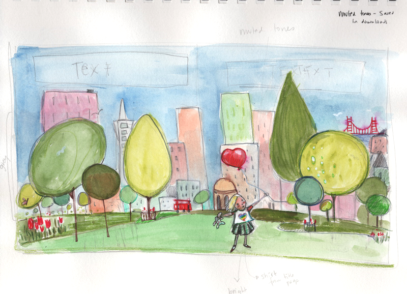 thumbnail for two page spread: Gracie twirling in a park in San Francisco