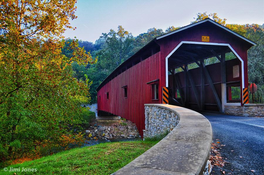 Covered Bridge - Pequea Creek - Angled View