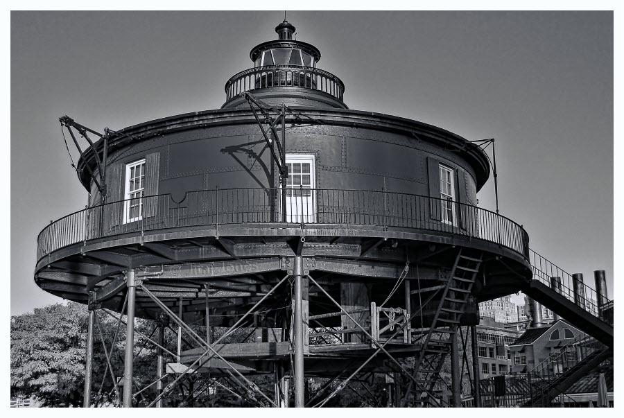 Seven Foot Knoll Lighthouse - B&W
