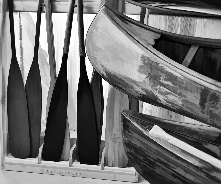 Oars and Canoes - Painterly B&W