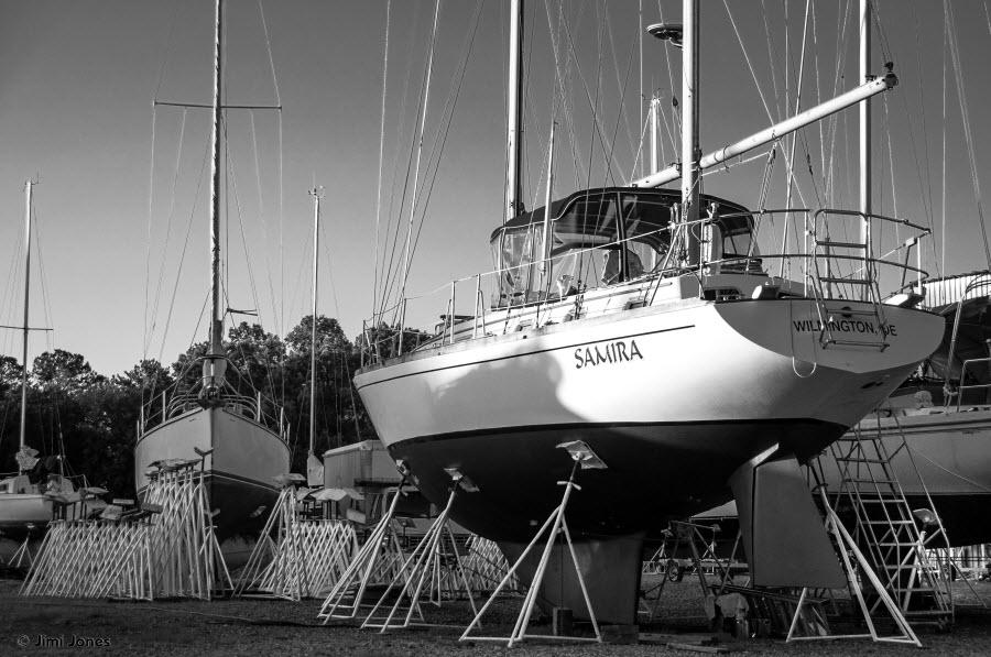 Boatyard in Lancaster - B&W