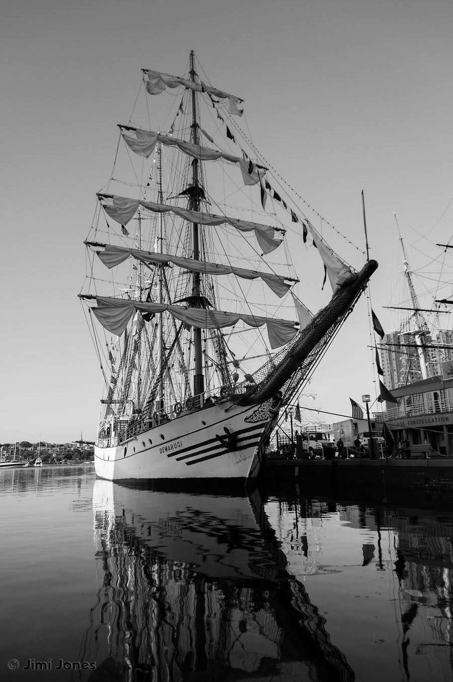 KRI Dewaruci - Tall Ship - B&W