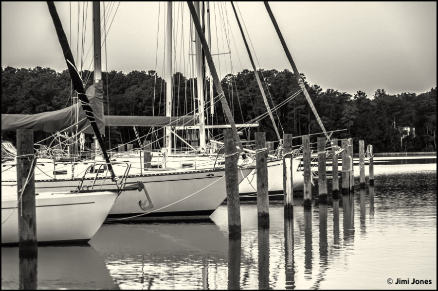Boats Moored on Slaughter Creek - B&W