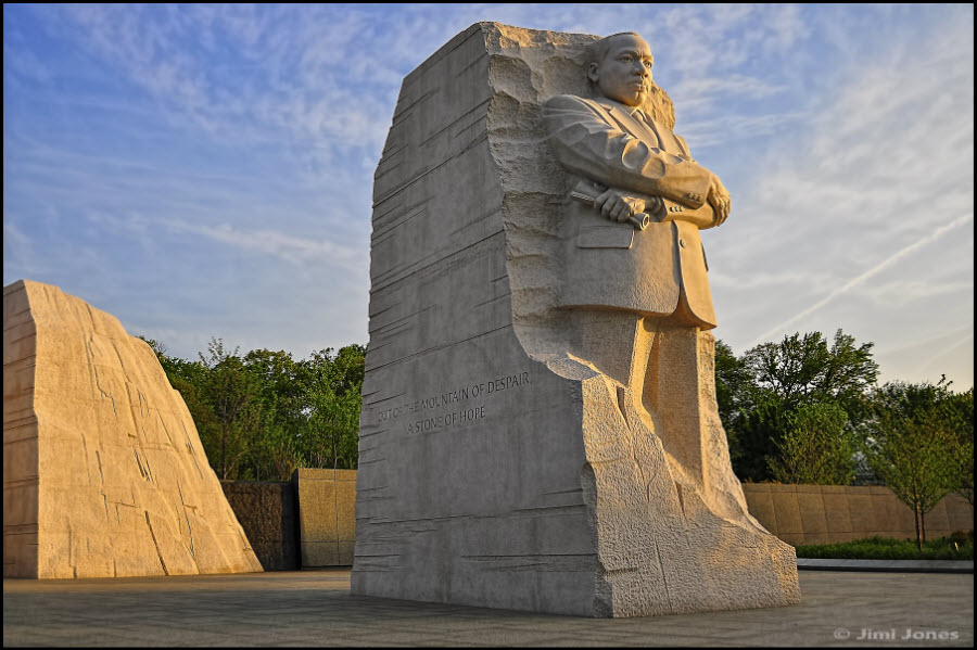 The sculpture of Martin Luther King Jr stands in the MLK Memorial Park