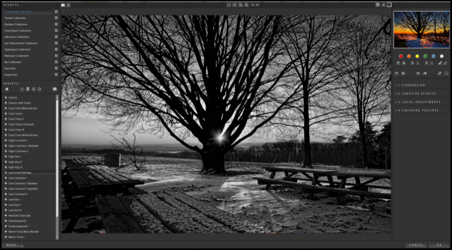 Topaz Labs Black and White Effects Interface