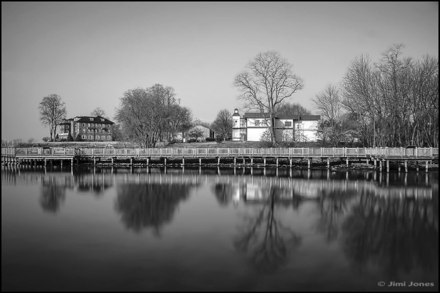 Black and white photograph: Across the Inlet