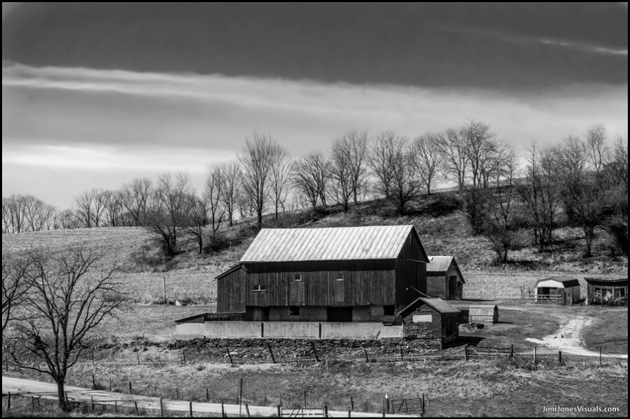 Hillside Barn in B&W