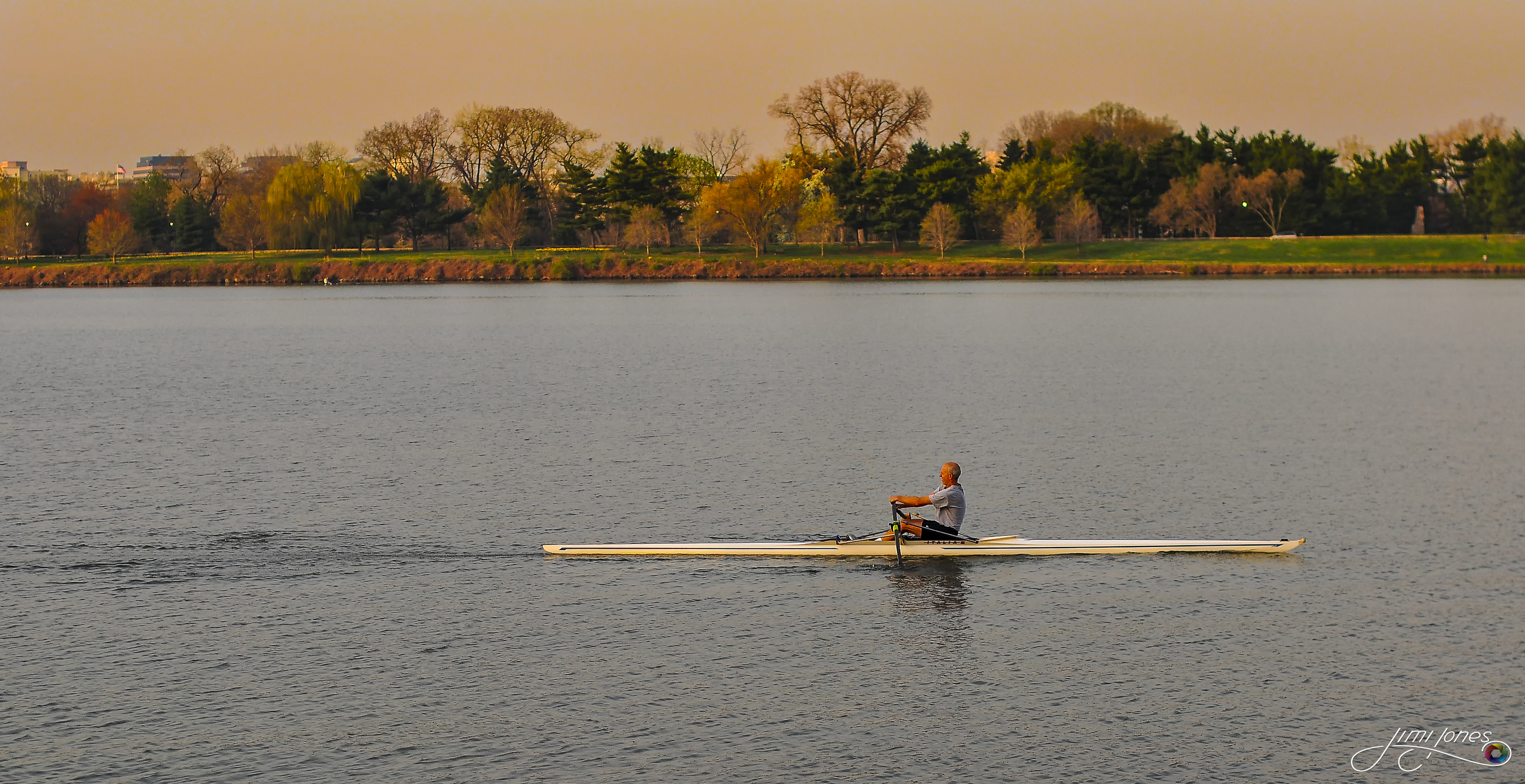 Rowing the Potomac River between Washington DC and Arlington Virginia.