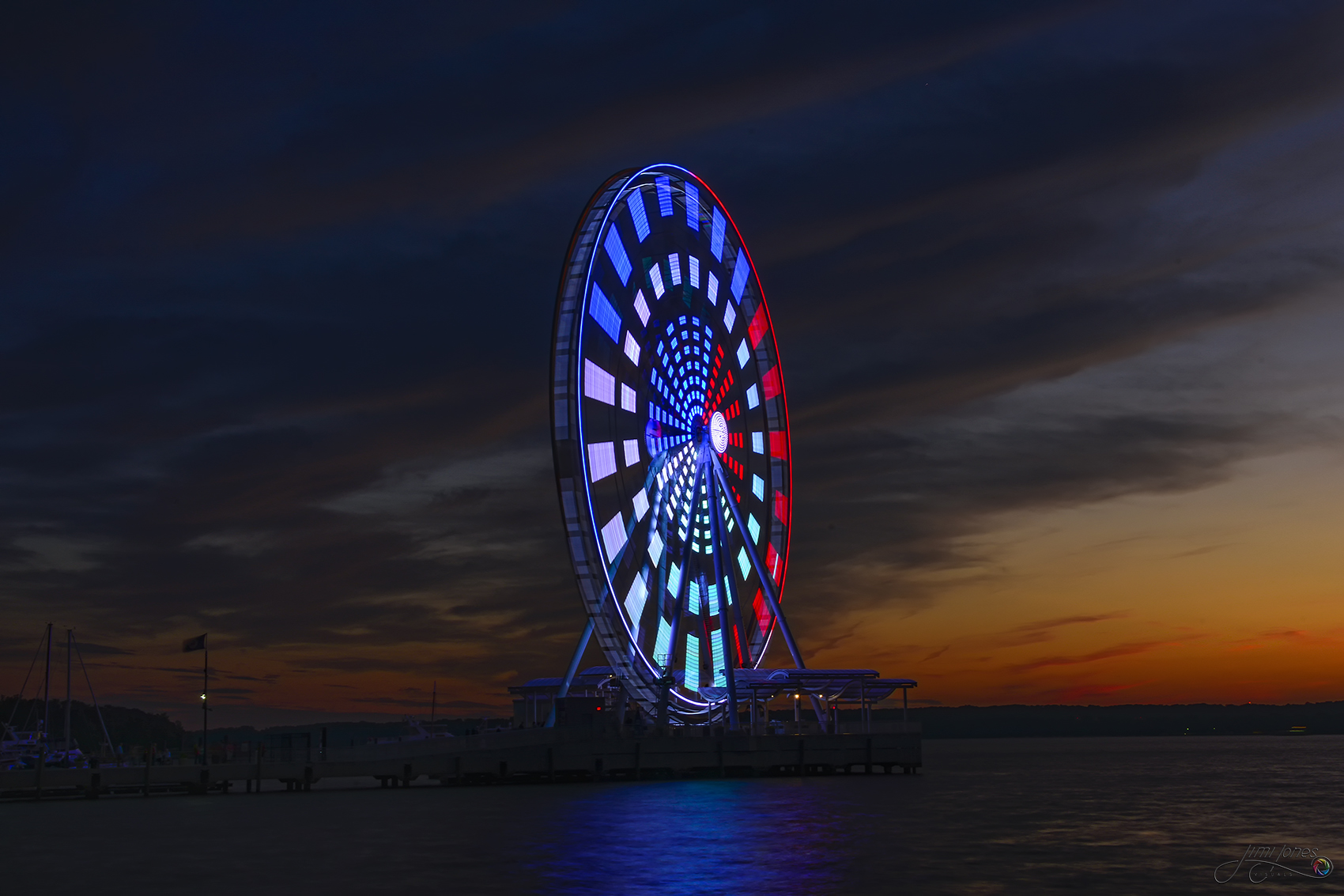 Capital Wheel Spins at Dusk