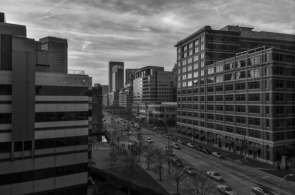 Pratt Street & Market Place Baltimore - B&W.jpg