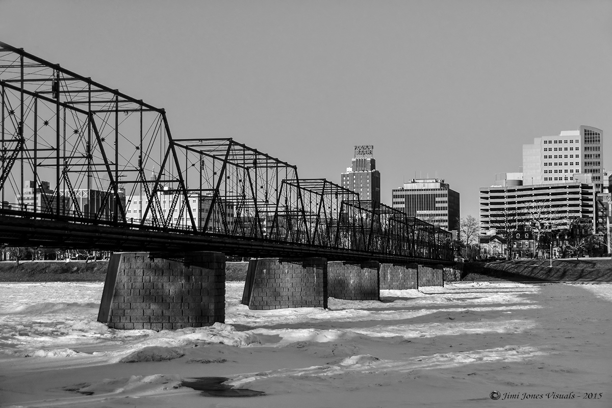 Black and White Photo of Walnut Street Bridge Harrisburg PA