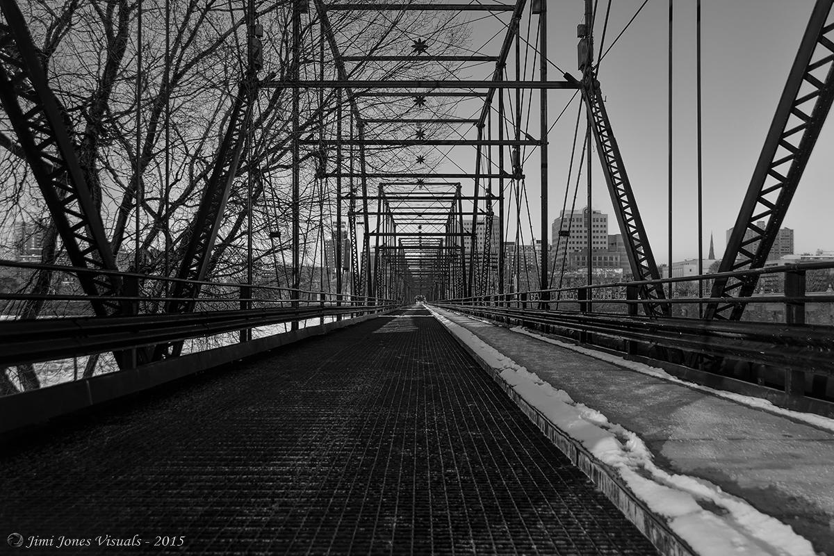 Walnut Street Pedestrian Bridge - Harrisburg PA - Black and White Photo