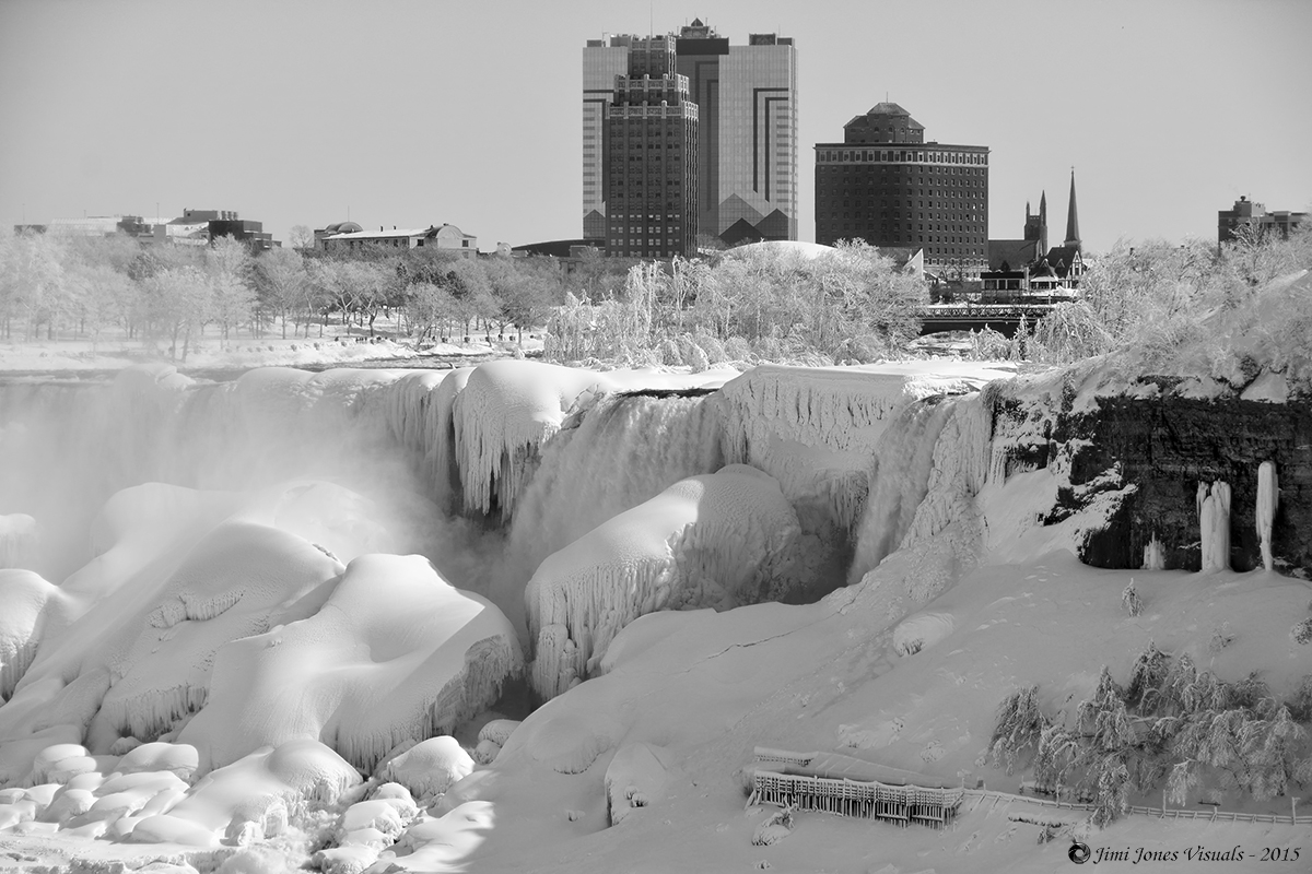 The American Falls - Winter of 2015 - Black and White Photo